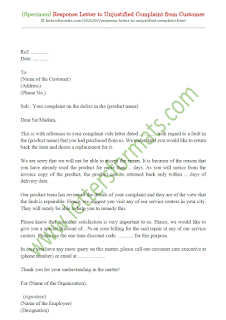 reply to unjustified complaint