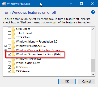Mengaktifkan Windows Subsystem for Linux