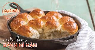 cách làm bánh mì mặn bằng chảo gang