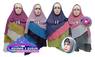 Khimar syar'i 3 layer sifon ceruti pet dan non pet