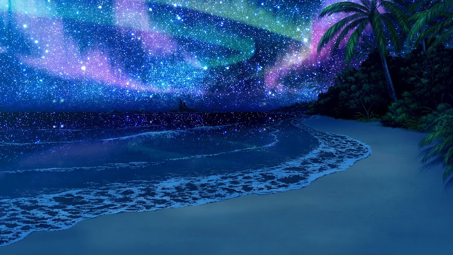 Beach, Night, Sky, Stars, Scenery, Nature, Anime, 4K, #138