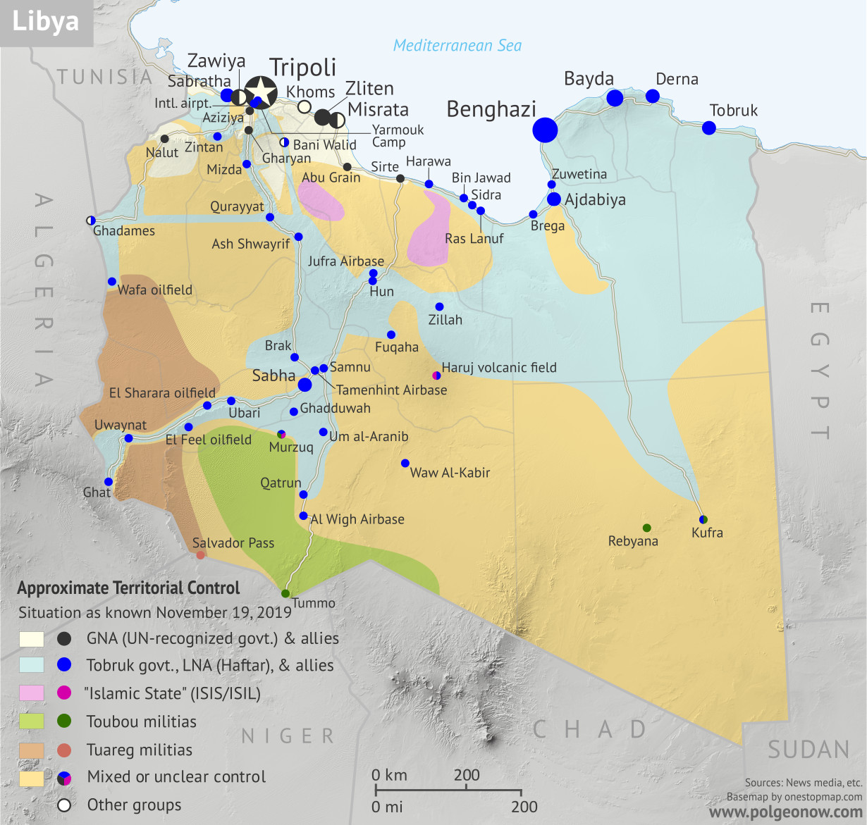 Libya civil war map: Who controls what? A concise, professional map of who controls Libya now (November 2019). Shows detailed territorial control in the Libyan Civil War as of September 27, 2019, including all major parties (Government of National Accord (GNA); Tobruk House of Representatives, General Haftar's Libyan National Army (LNA), and allies; Tuareg and Toubou (Tebu, Tubu) militias in the south; the so-called Islamic State (ISIS/ISIL); and other groups such as the National Salvation Government (NSG)). Includes recent locations of interest including Yarmouk Camp, Murzuq, Aziziya, and more. Colorblind accessible.