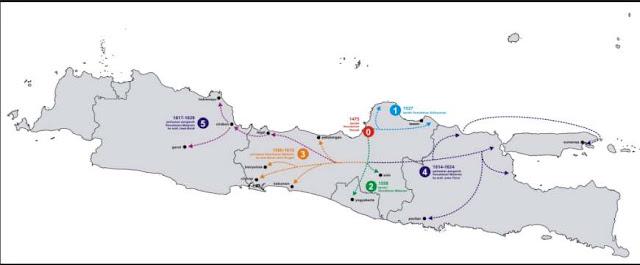 Peta kerajaan Islam di Jawa