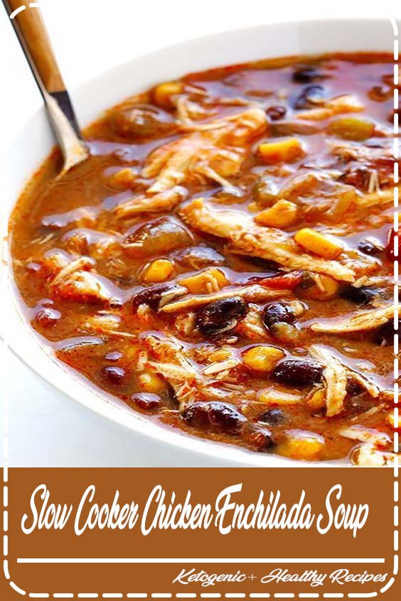 This slow cooker chicken enchilada soup recipe only takes about  Slow Cooker Chicken Enchilada Soup