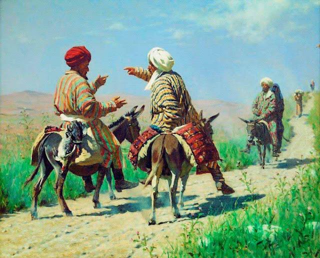 Василий Васильевич Верещагин - Мулла Рахим и мулла Керим по дороге на базар ссорятся. 1873