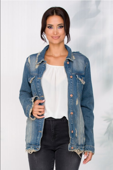 Jacheta dama larga din denim cu aspect prespalat