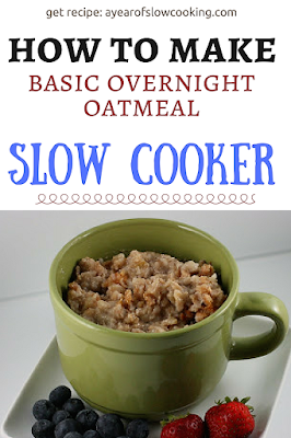 This is a very basic overnight oatmeal recipe to make in the crockpot slow cooker. You can doctor it up with any of your favorite flavorings: apple, pumpkin, blueberry, cranberry walnut, brown sugar, etc. Plug it in at night and wake up to breakfast!!