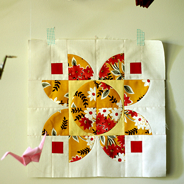Autumn Lotus Quilt Block designed by  Rachel Hauser for Stitched in Color