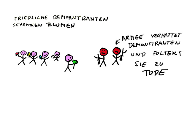 Dr. Kristian Stuhl 2012,  Demonstranten schenken Blumen, Das Klo spült alles fort, A4