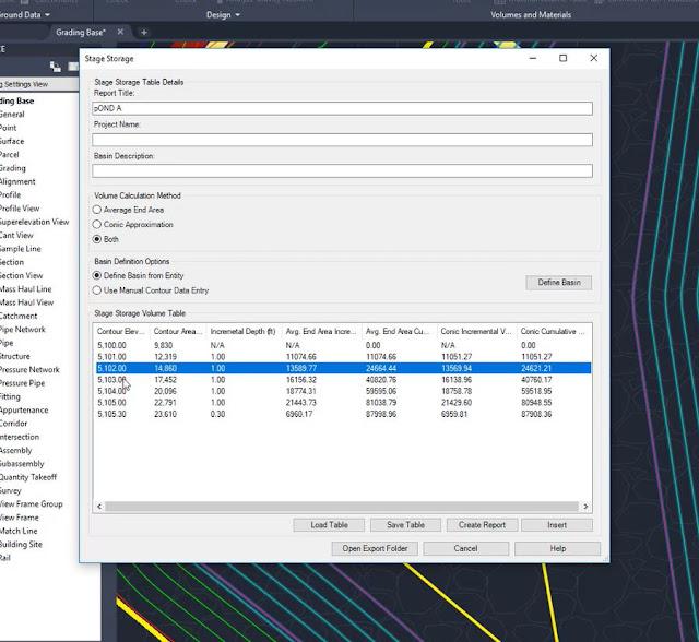 Stage Storage Analysis in Civil 3D