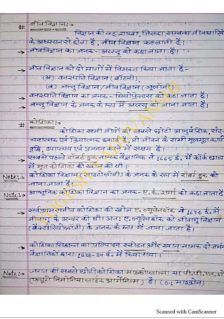 Biology Handwritten Notes By Yaduvanshi  : For All Competitive Exam Hindi PDF Book