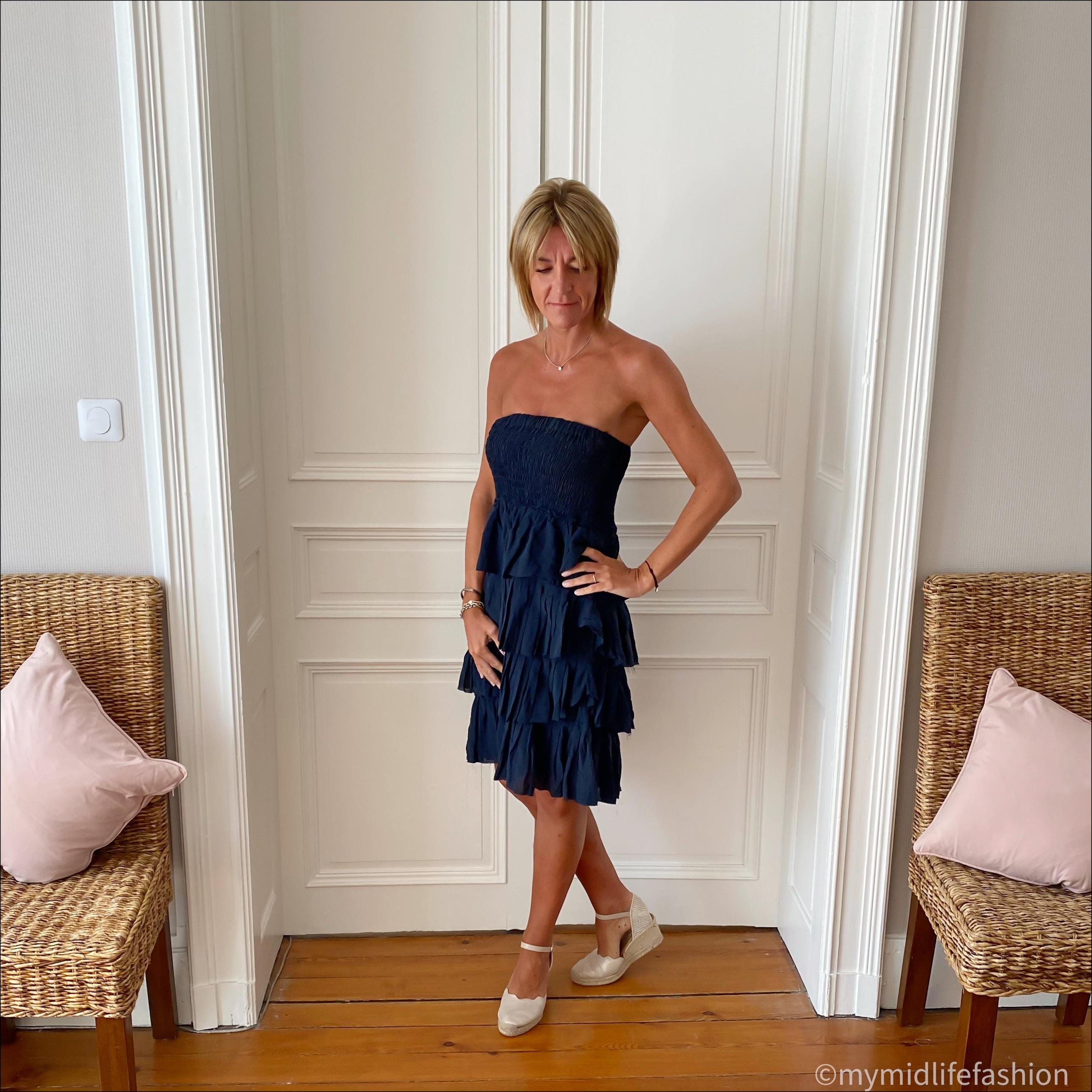 my midlife fashion, Isabel Marant Etoile ruffle strapless silk sun dress, carl scrap Brittany beige metallic sandals