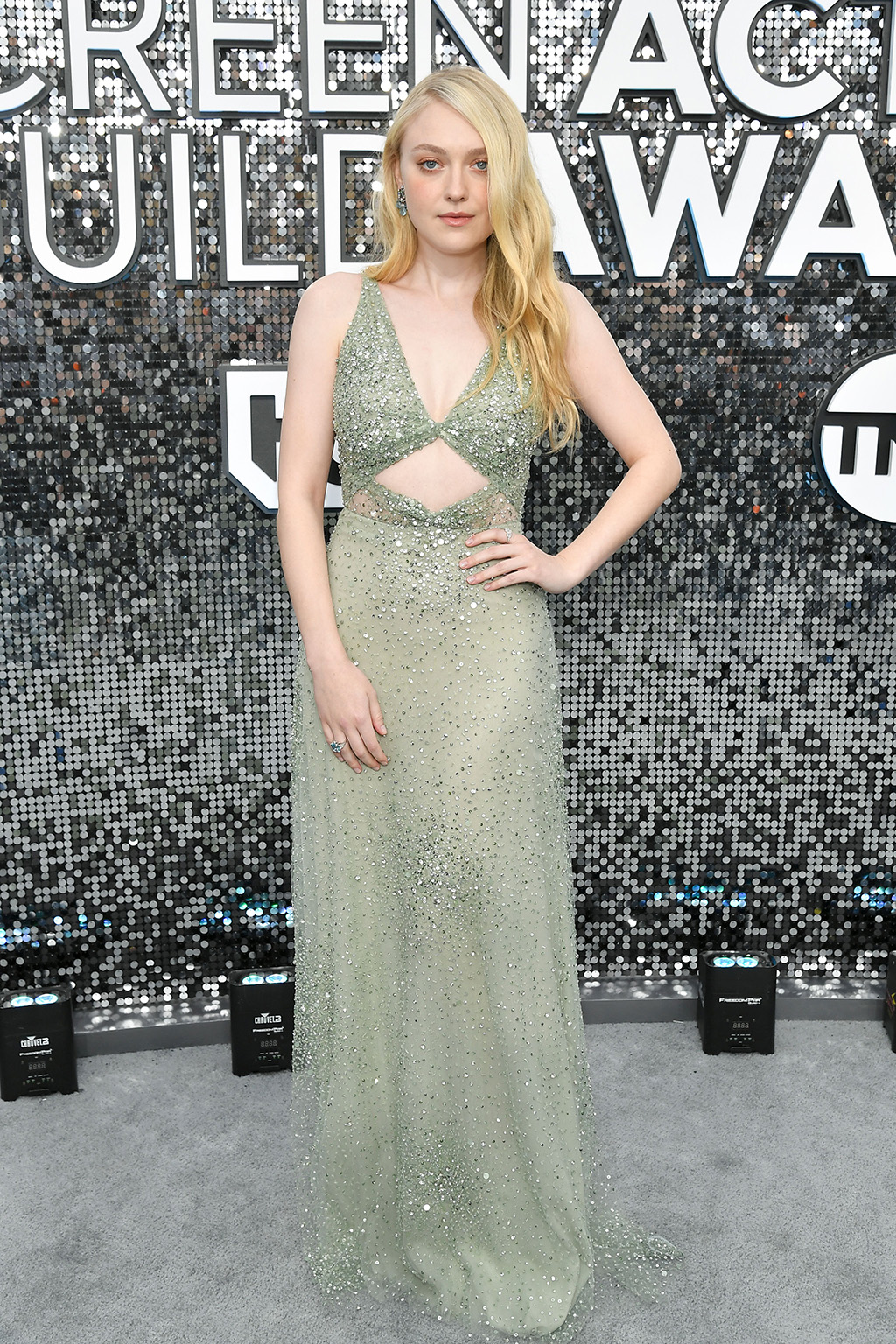 Dakota Fanning Sparkles in Mint Green at 2020 SAG Awards
