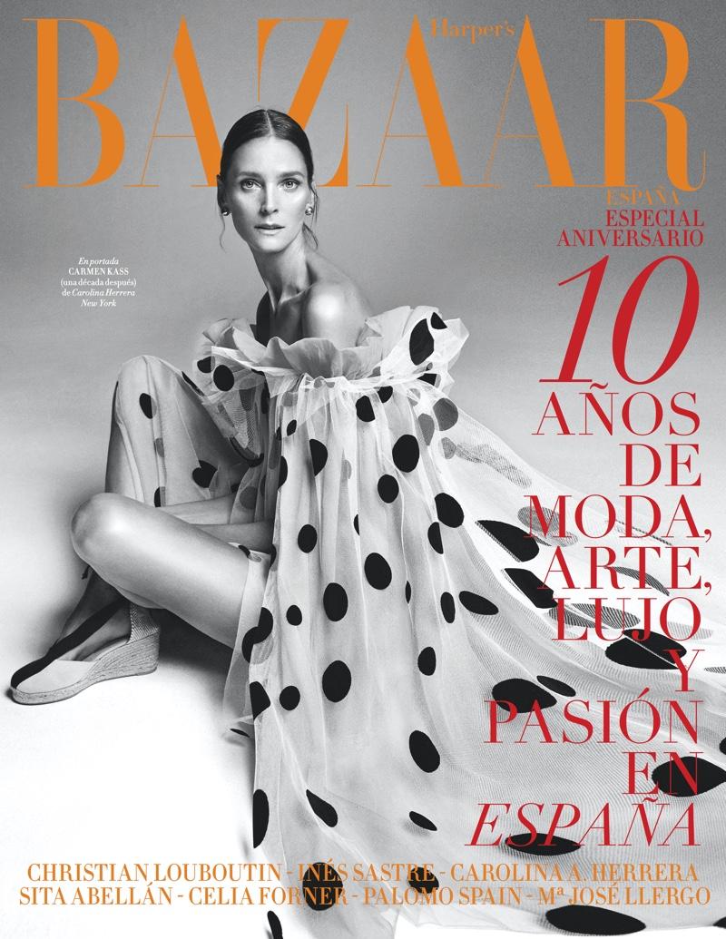 Carmen Kass poses for Harper's Bazaar Spain's 10th Anniversary issue