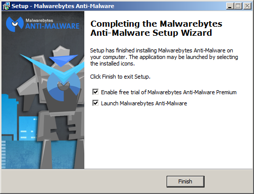 Finish installation Malwarebytes