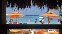 Beach bar, drinking, Roatan, Honduras
