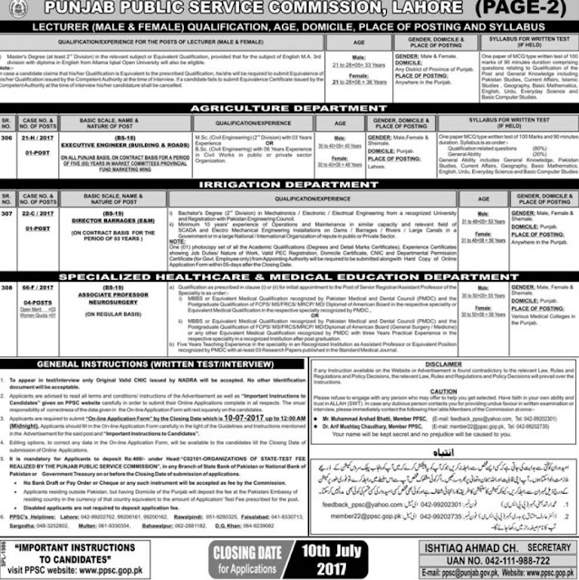 2000+ PPSC Lecturers Jobs 2017 For Male & Female Punjab Public Service Commission Lecturers Jobs PPSC 35/2017