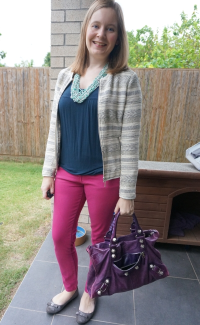 jacquard jacket with navy tank purple bag and magenta skinny jeans colourful autumn outfit | awayfromblue