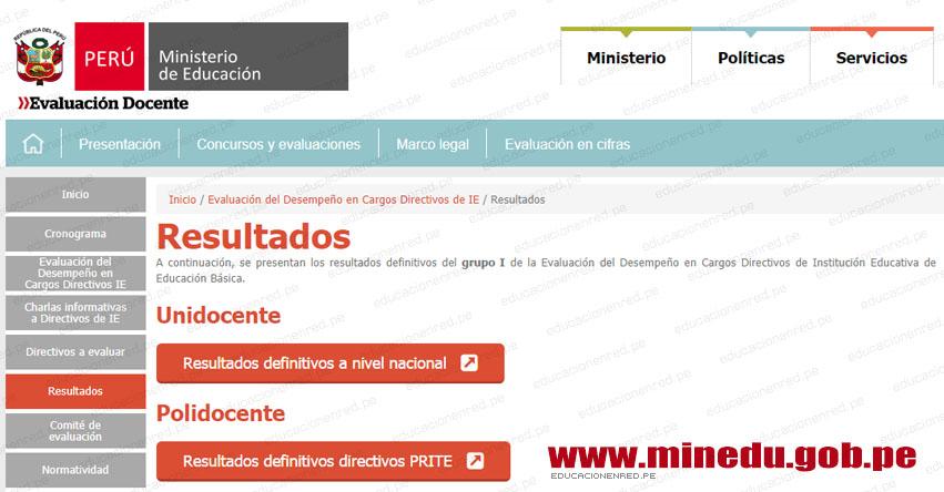 MINEDU Publicó Resultados Finales Evaluación Desempeño Cargos Directivos de IE (27 Septiembre 2018) www.minedu.gob.pe