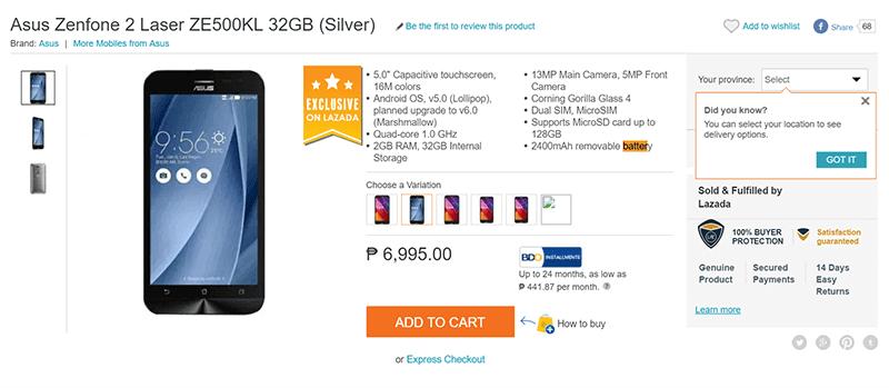 Asus ZenFone 2 Laser 5.0 w/ 32 GB ROM Philippines