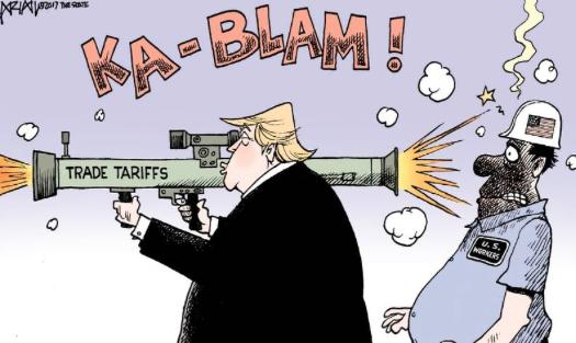 Risultati immagini per trade war trump cartoons