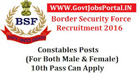 Border Security Forse(BSF) Recruitment 2016 For 190+ Constables Posts