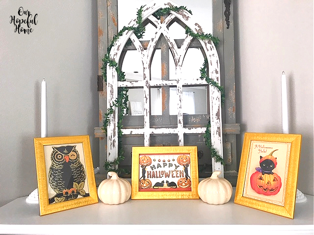 Halloween mantel decor pumpkins cathedral arch