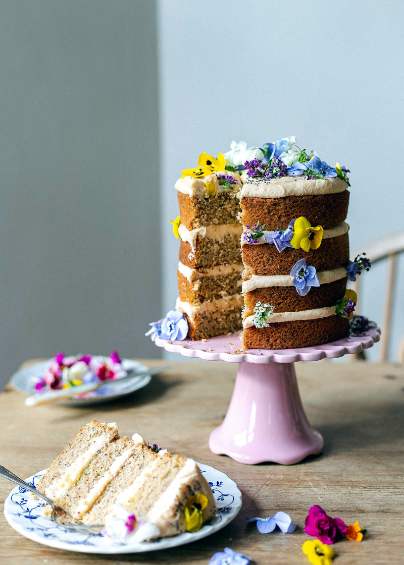 Earl Grey, lemon and poppy seed Mother's Day cake