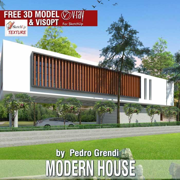 SKETCHUP TEXTURE Free sketchup 3d model Modern House 56 Vray