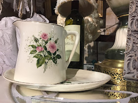 vintage pitcher with pink roses