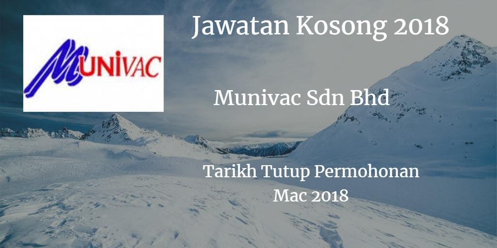 Jawatan Kosong Munivac Sdn Bhd Mac 2018