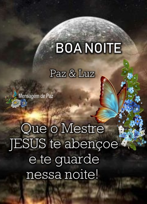 Que o Mestre Jesus   te abençoe e te guarde  nessa noite!  Paz e Luz!  Boa Noite!