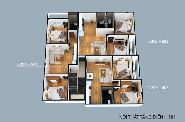 Mặt bằng điển hình từ tầng 2 đến tầng 6 của chung cư Đông Ngạc 4C