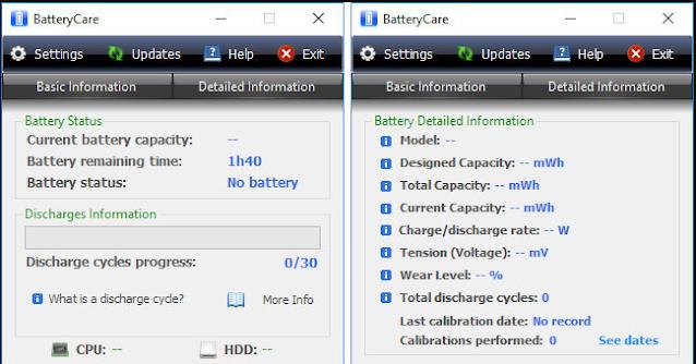 tampilan aplikasi Batterycare