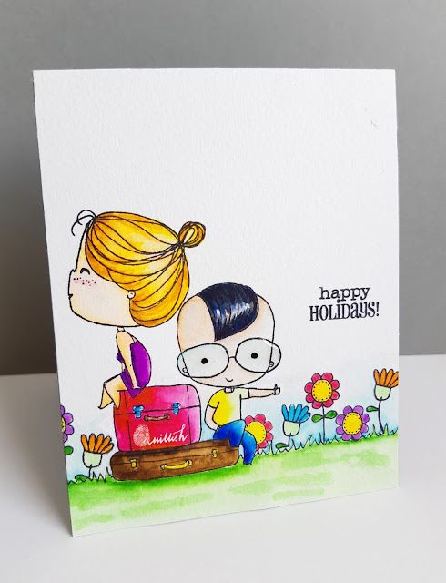 Brutus Monroe, Card for newly weds, CAS card, guest designing, One layer card, Zig clean colour brush pens, couple card, cute card by Ishani, cards by Ishani, quillish, Watercoloring with zig clean colour brush pens, colouring hair with zigs, zig coloring, quillish, guest designer Ishani