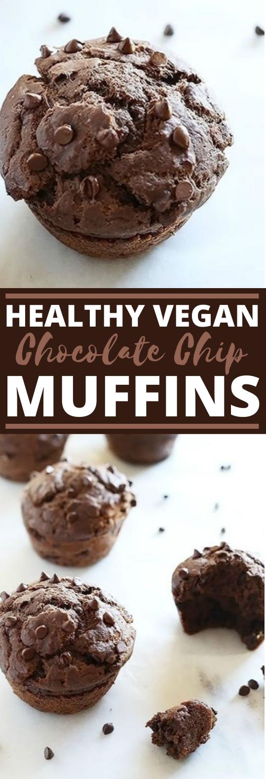 Healthy Vegan Chocolate Chip Muffins #vegan #breakfast #muffin #baking #chocolate