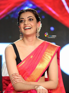 Kajal Agarwal in Red Saree Sleeveless Blouse Stunning Pics  Exclusive Galleries 006.jpg