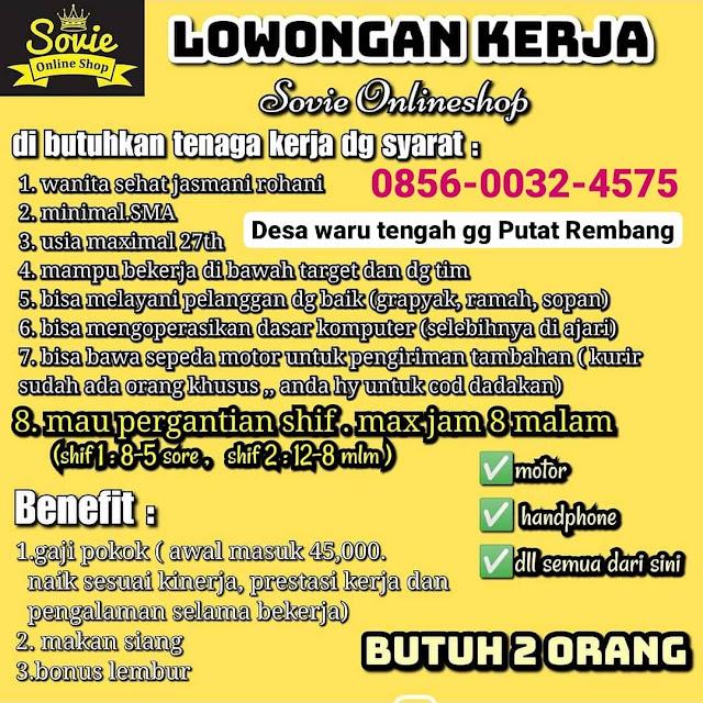 Lowongan Kerja 2 Pegawai Sovie Online Shop Rembang
