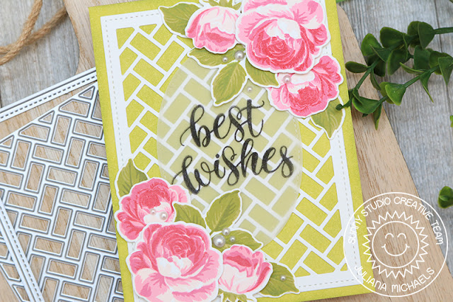 Sunny Studio Stamps: Frilly Frame Dies Potted Rose Everything's Rosy Stitched Oval Dies Everyday Card by Juliana Michaels