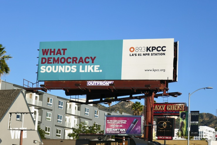 What democracy sounds like radio billboard