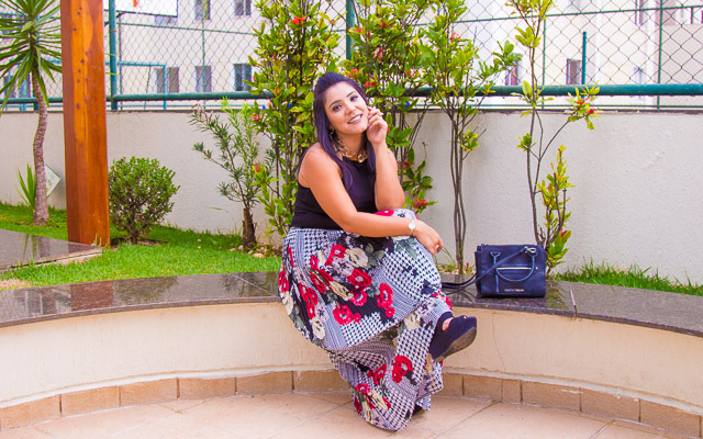 Look do dia: saia longa plissada estampada