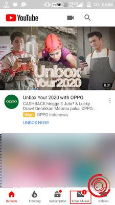 1. Langkah pertama untuk membalas komentar di video kita dengan aman, silakan kalian buka aplikasi Youtube kemudian pilih menu Kotak Masuk