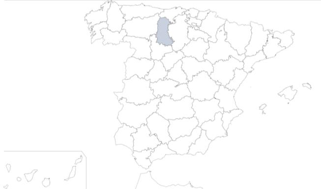Provincia de Palencia en mapa de España