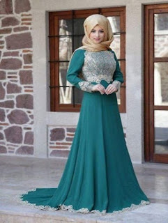 fashion gaun pesta muslimah 2018