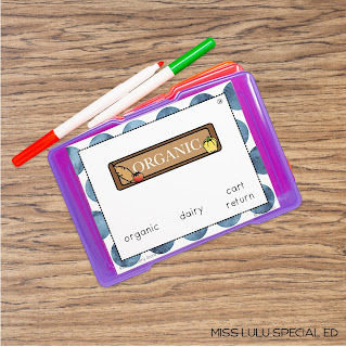grocery store words task cards and task box with dry erase markers