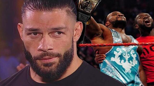 رومان رينز يتفاعل مع فوز بيج إي ببطولة WWE