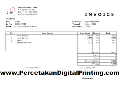 Contoh Contoh Desain INVOICE Dari Percetakan Digital Printing Terdekat