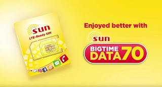 Sun Big Time Data 70 Pesos for 1GB + Unli text to all valid for 7 Days