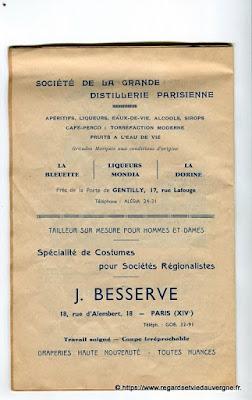 La Bourrée du Massif Central, programme 1938 distillerie parisienne, J.Besserves, costumes