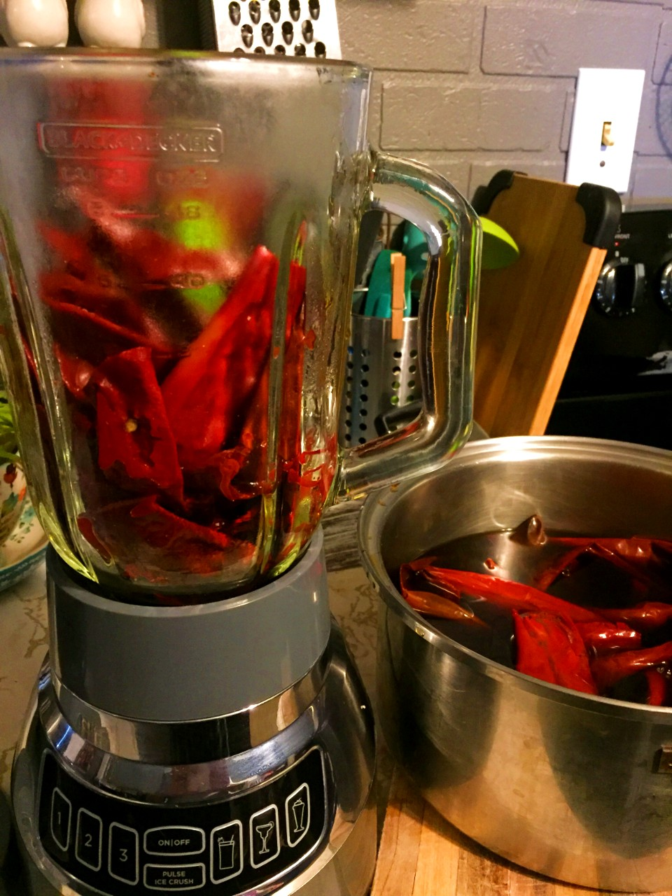 New Mexico red Chile in blender